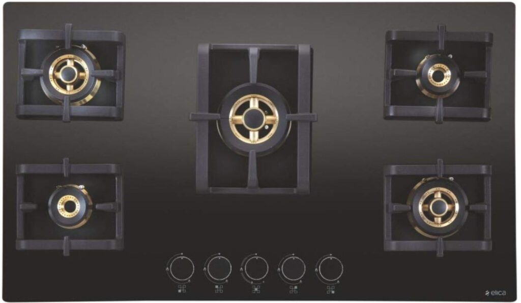 the image of Elica PRO FB MFC 5B 90 MT FFD Brass Automatic Gas Stove with five burners